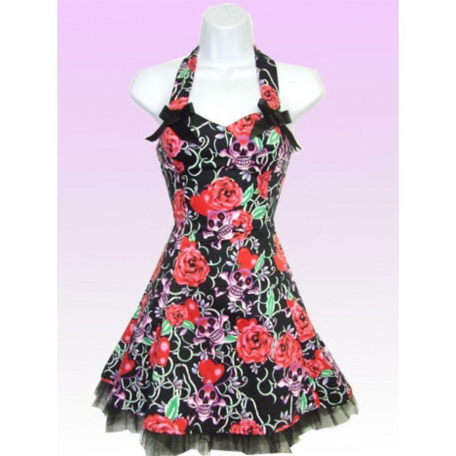 Look@you - Kort klänning i rosa/rött med döskallar