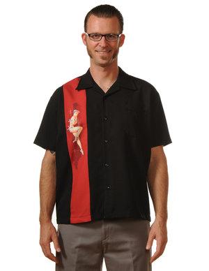 Rockabilly skjorta, svart, vinröd pinuppa
