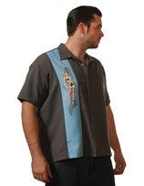 Rockabilly skjorta, grå, blå pinuppa