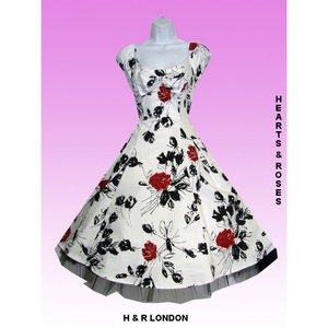 Vit klänning med röd/svart ros tryck
