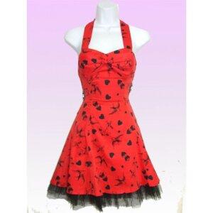 """Röd/svart kort klänning med """"tattoo"""" tryck"""